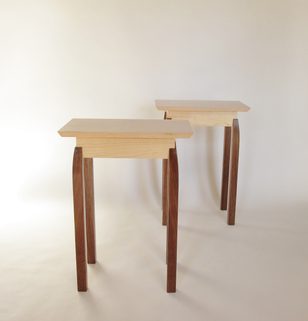 A Pair Of Small Narrow End Tables Tiger Maple And Walnut Nightstands