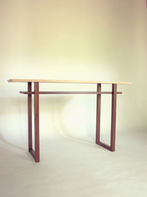 A Narrow Sideboard Table For Small Dining Rooms. This Solid Wood Handmade  Table Is Pictured