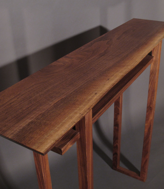 A Narrow Hall Table With Live Edge Top Walnut Wood Furniture Handmade In The
