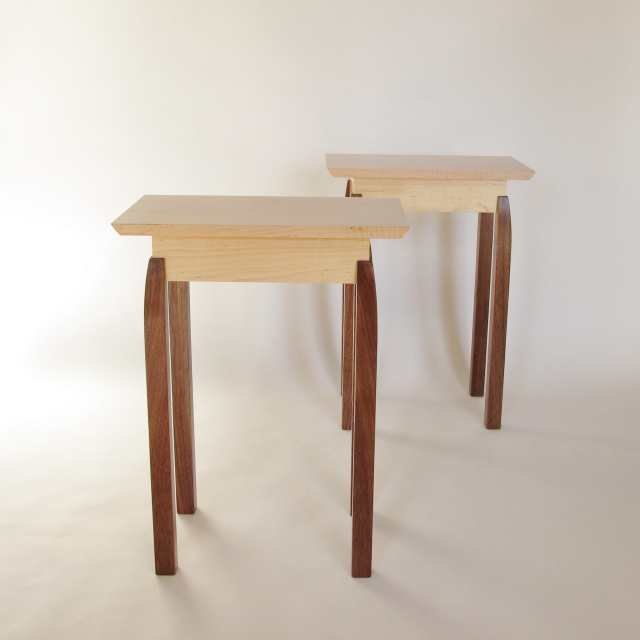 Pair Of Small Narrow End Tables: Maple, Walnut  Solid Wood Accent Tables For
