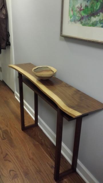 Custom Live Edge Console Table Narrow Walnut Table Handmade