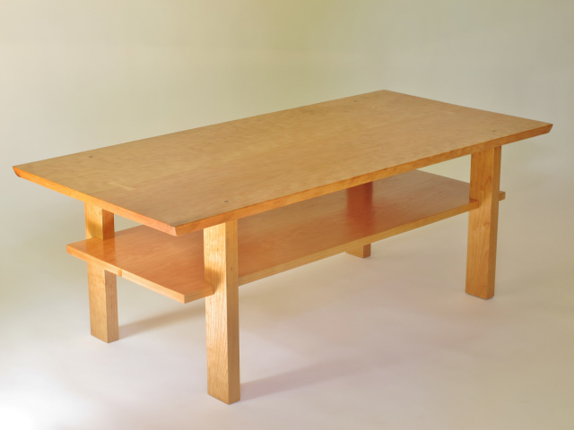 Solid Wood Coffee Table In Cherry Walnut Or Tiger Maple Coffee Table With Storage Shelf Featuring Hand Cut Butterfly Keys And Ebony Accents A Modern Wood Table For Your Home