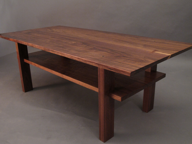 Artistic Solid Wood Coffee Table With Inset Shelf A Walnut Coffee