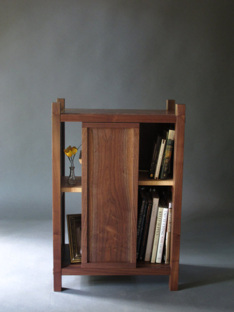 A Modern Entry Storage Cabinet Solid Wood Hall Table Cabinet Or Bed Side Table With A Small Bookcase Handmade Custom Mid Century Modern Wood Furniture
