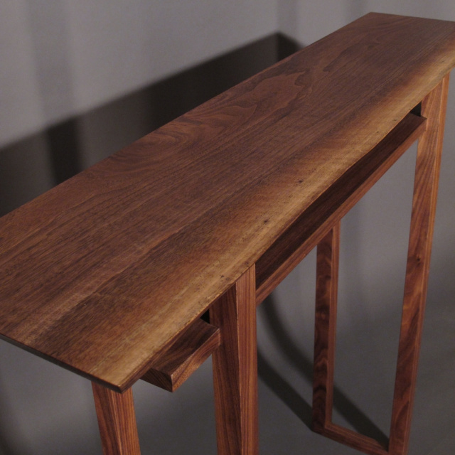 A Narrow Hall Table With Live Edge Table Top In Walnut  Mid Century Modern  Furniture