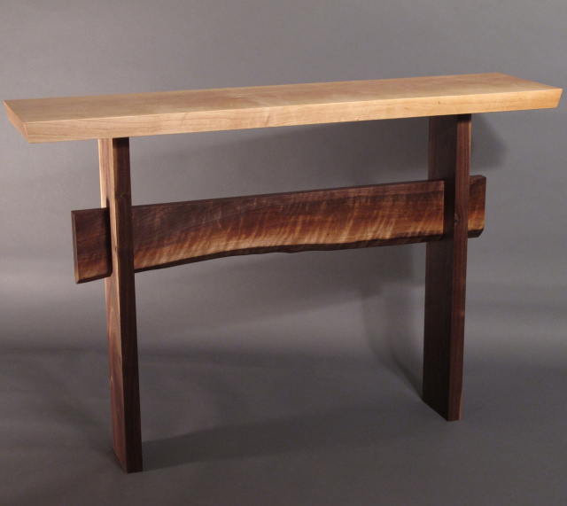 A narrow console table with live edge stretcher- modern wood table for your hall  table 4046d38b1